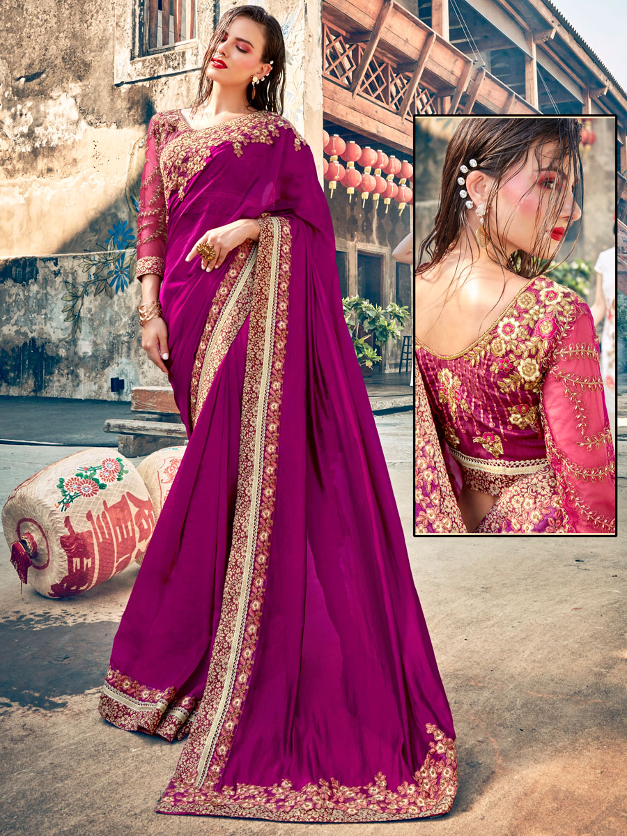 Purple Faux Georgette Embroidered Party Saree