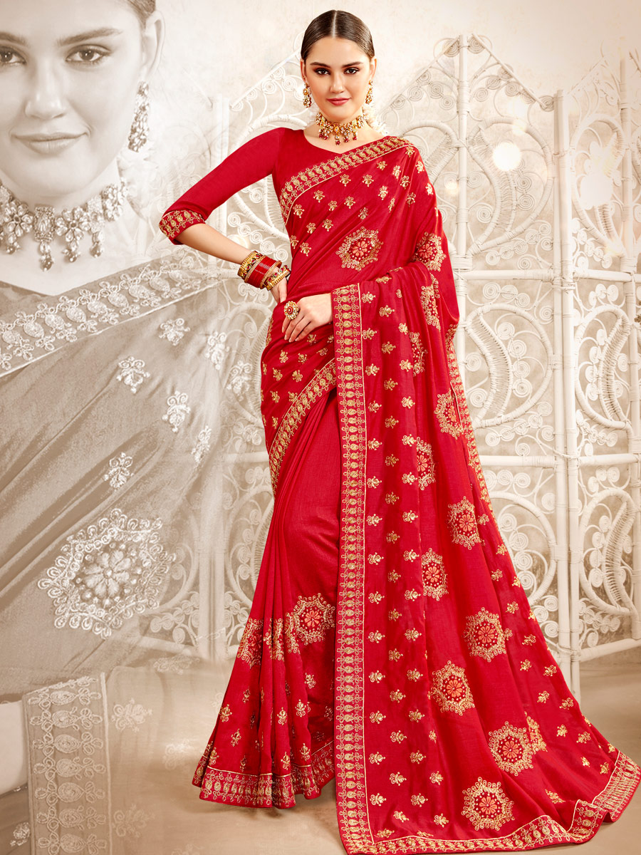 Venetian Red Rangoli Silk Embroidered Party Saree