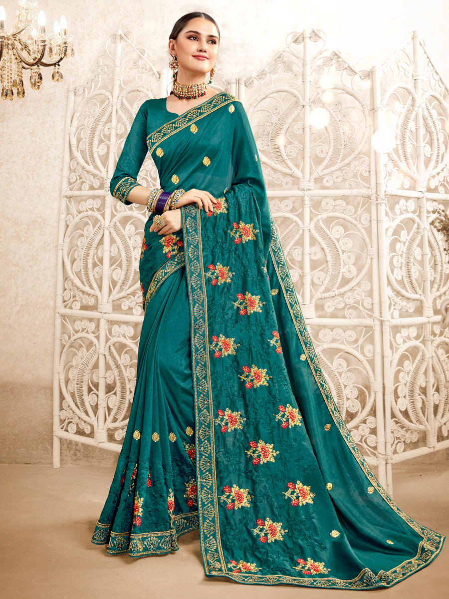 Pine Green Rangoli Silk Embroidered Party Saree