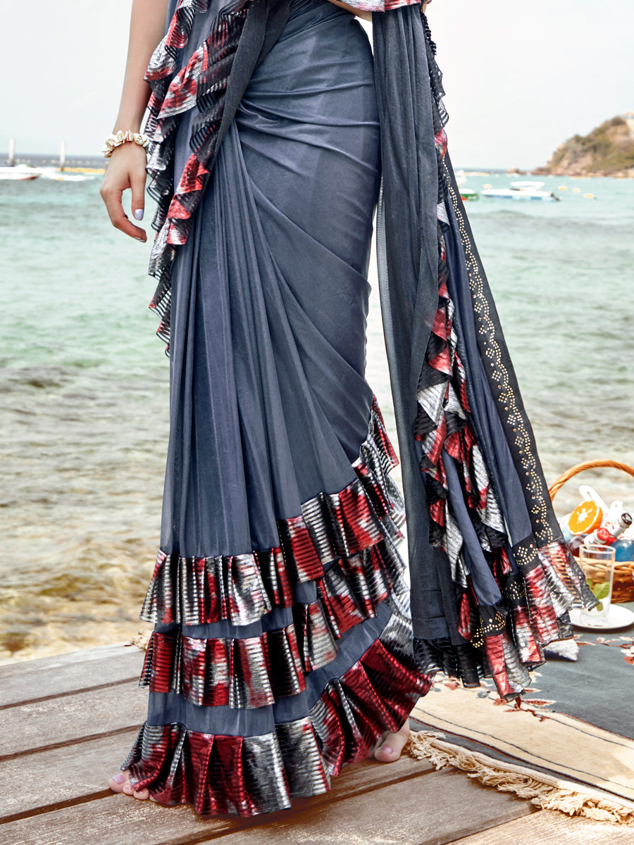 Grey Lycra Designer Party Saree