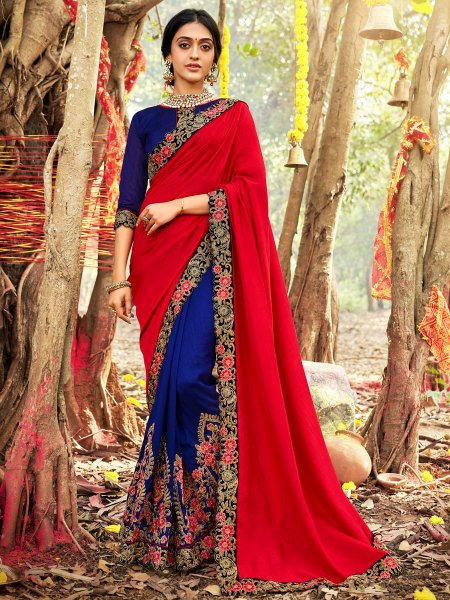 Crimson Red and Dark Blue Vichitra Silk Embroidered Party Saree