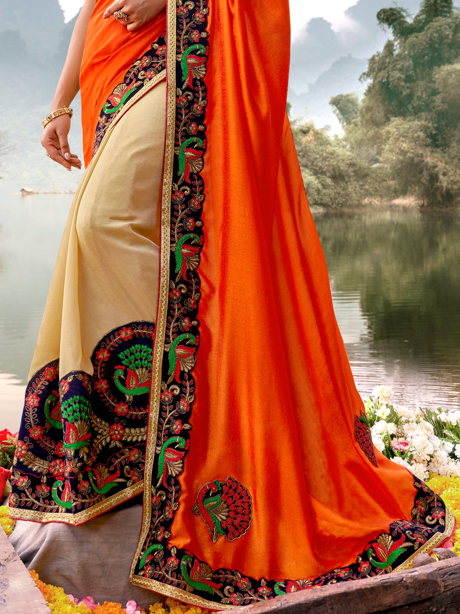 Orange-Red and Cream Yellow Vichitra Silk Embroidered Party Saree