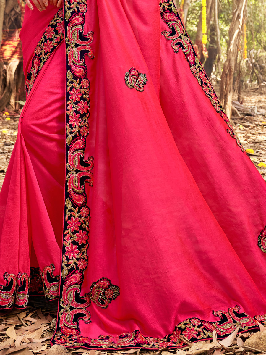 Cerise Pink Vichitra Silk Embroidered Party Saree