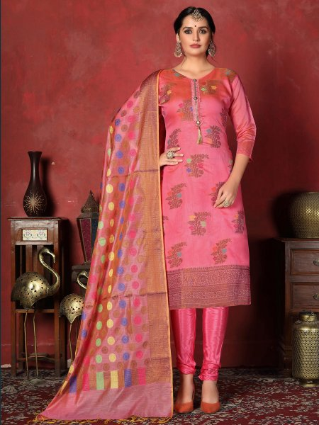Salmon Pink Banarasi Silk Handwoven Party Churidar Pant Kameez