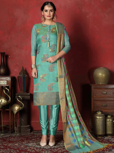 Teal Blue Banarasi Silk Handwoven Party Churidar Pant Kameez