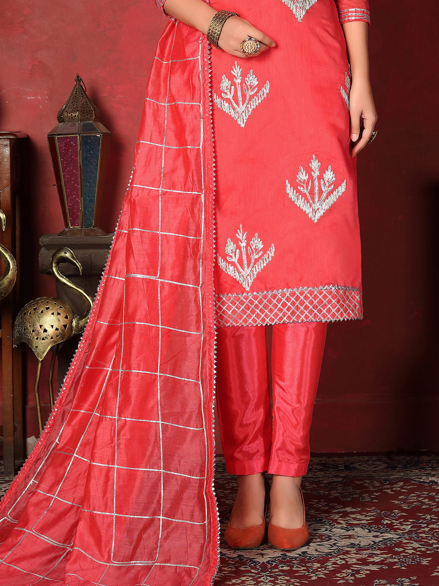 Amaranth Pink Cotton Embroidered Party Pant Kameez