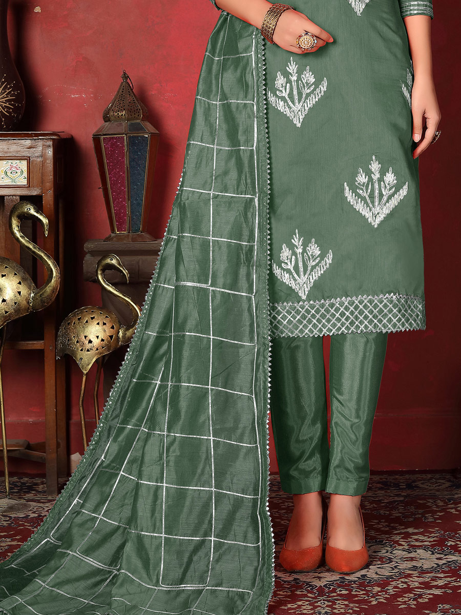 Gray-Asparagus Green Cotton Embroidered Party Pant Kameez