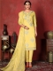 Cream Yellow Cotton Embroidered Party Pant Kameez