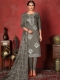 Dark Gray Cotton Embroidered Party Pant Kameez