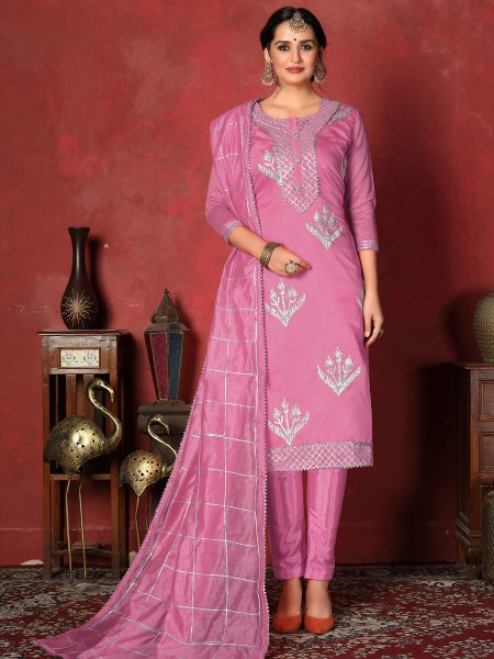 Persian Pink Cotton Embroidered Party Pant Kameez