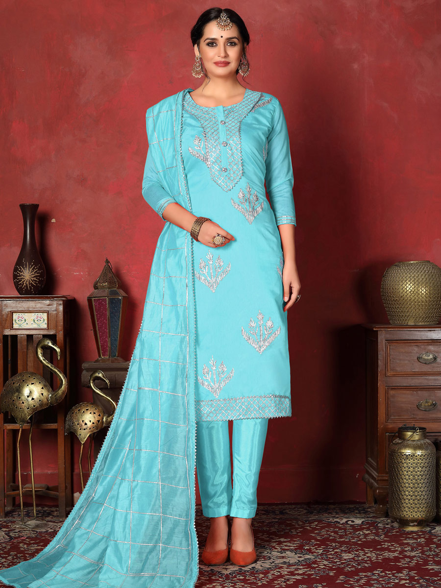 Sky Blue Cotton Embroidered Party Pant Kameez