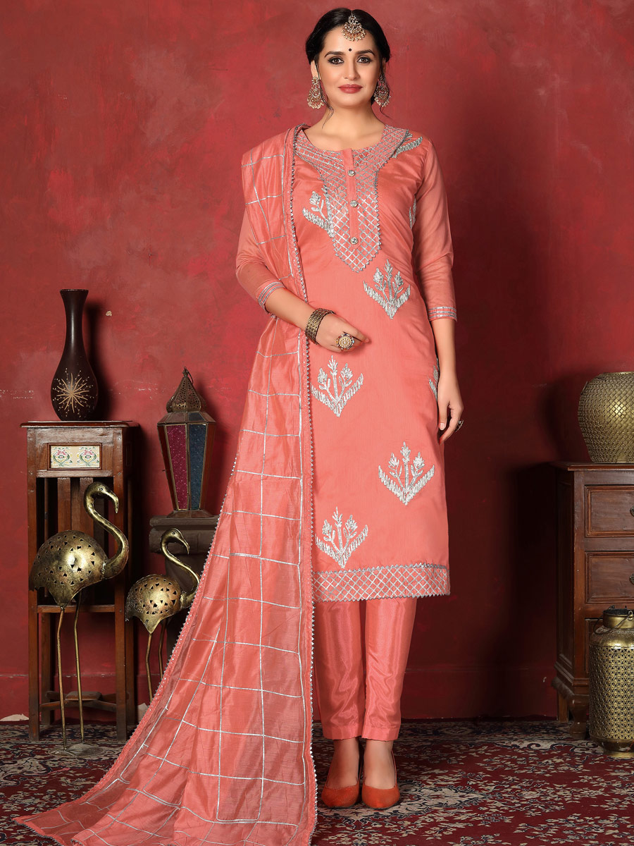 Coral Pink Cotton Embroidered Party Pant Kameez