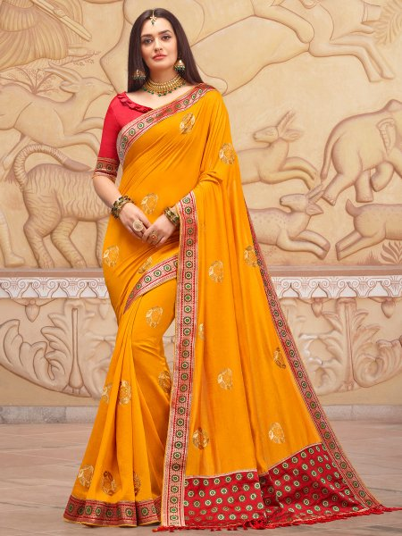Amber Yellow Silk Handwoven Festival Saree