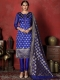 Dark Blue Banarasi Silk Handwoven Party Churidar Pant Kameez