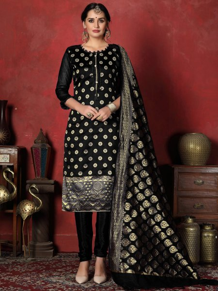 Black Banarasi Silk Handwoven Party Churidar Pant Kameez