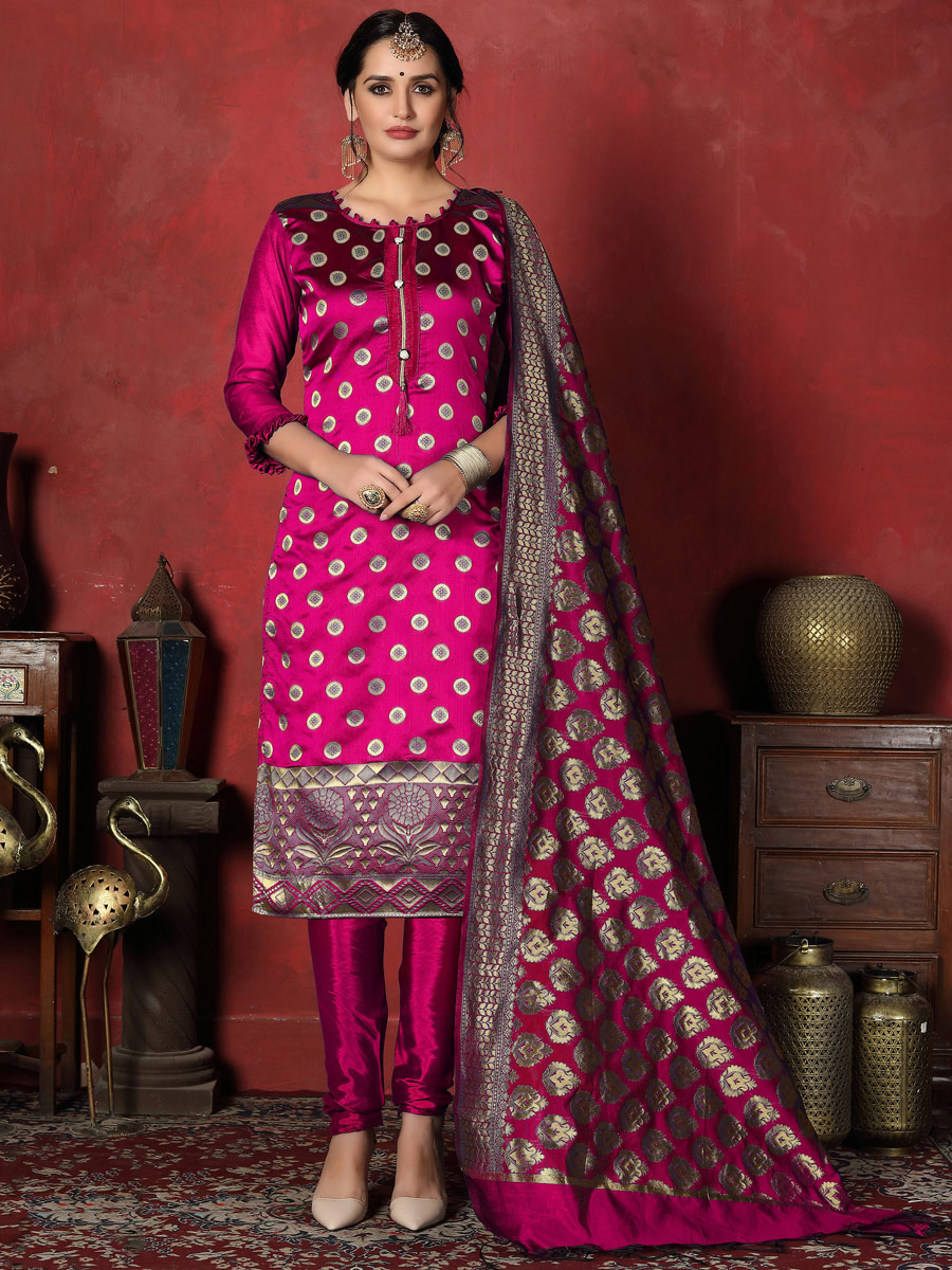 Magenta Pink Banarasi Silk Handwoven Party Churidar Pant Kameez