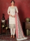 White Banarasi Silk Handwoven Party Pant Kameez