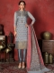 Silver Gray Banarasi Silk Handwoven Party Pant Kameez