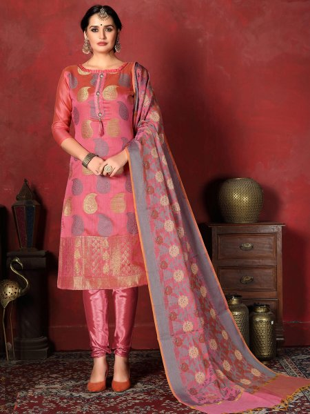 Brink Pink Banarasi Silk Handwoven Party Churidar Pant Kameez