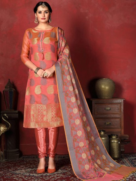 Salmon Orange Banarasi Silk Handwoven Party Churidar Pant Kameez