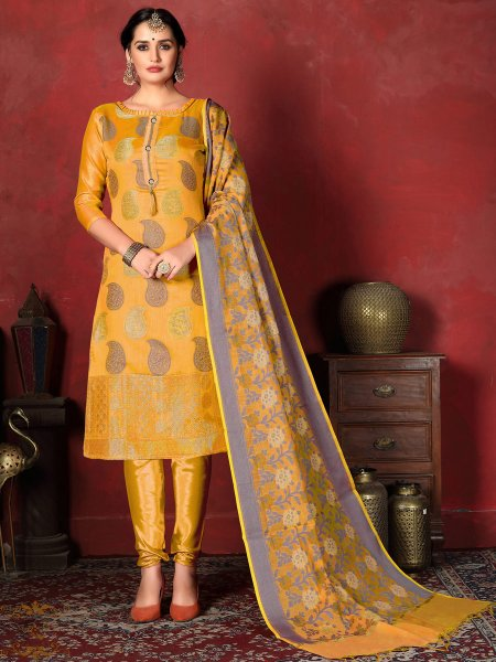Mustard Yellow Banarasi Silk Handwoven Party Churidar Pant Kameez