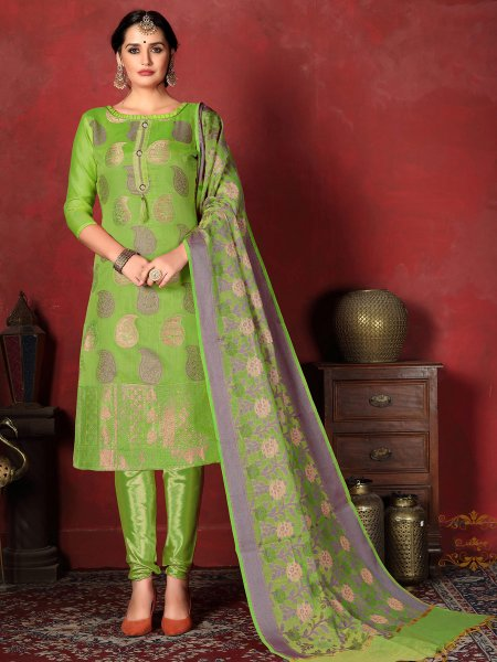 Light Olive Drab Green Banarasi Silk Handwoven Party Churidar Pant Kameez