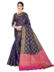 Navy Blue Silk Handwoven Festival Saree