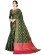 Dark Green Silk Handwoven Festival Saree
