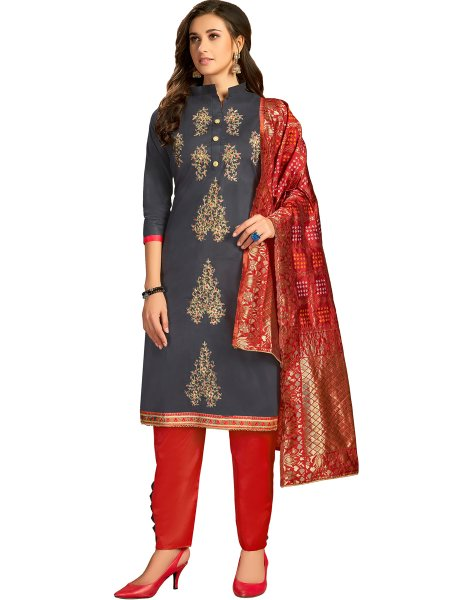 Prussian Blue Cotton Embroidered Party Pant Kameez