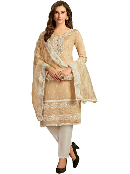 Beige Yellow Cotton Embroidered Party Pant Kameez