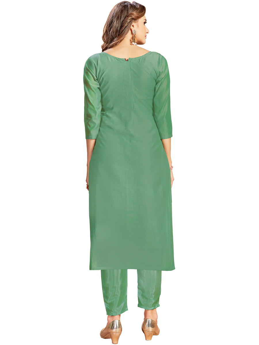 Viridian Green Cotton Embroidered Party Pant Kameez