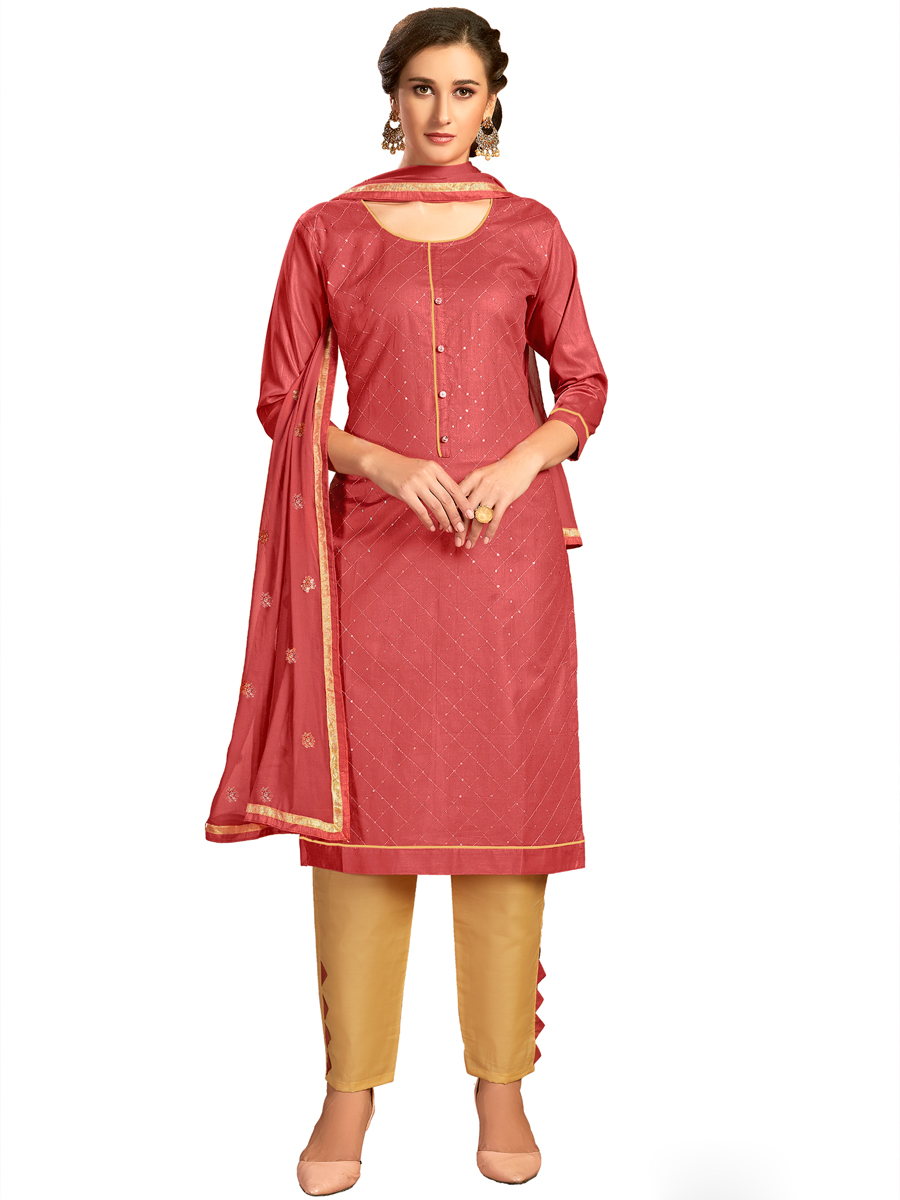 Chestnut Red Cotton Plain Party Pant Kameez