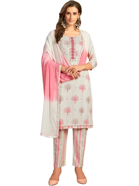 Off-White Cotton Printed Party Pant Kameez