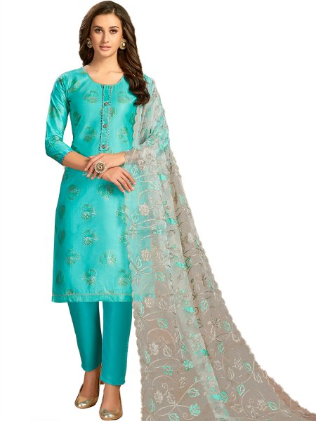 Sky Blue Cotton Printed Party Pant Kameez