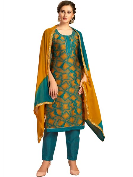 Teal Green and Mustard Yellow Cotton Printed Party Pant Kameez