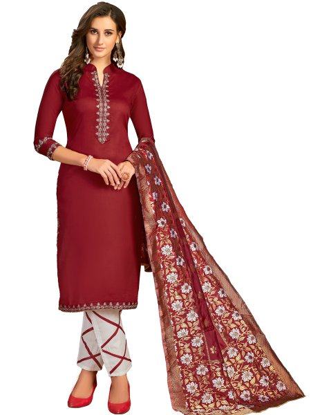 Maroon Cotton Embroidered Party Pant Kameez