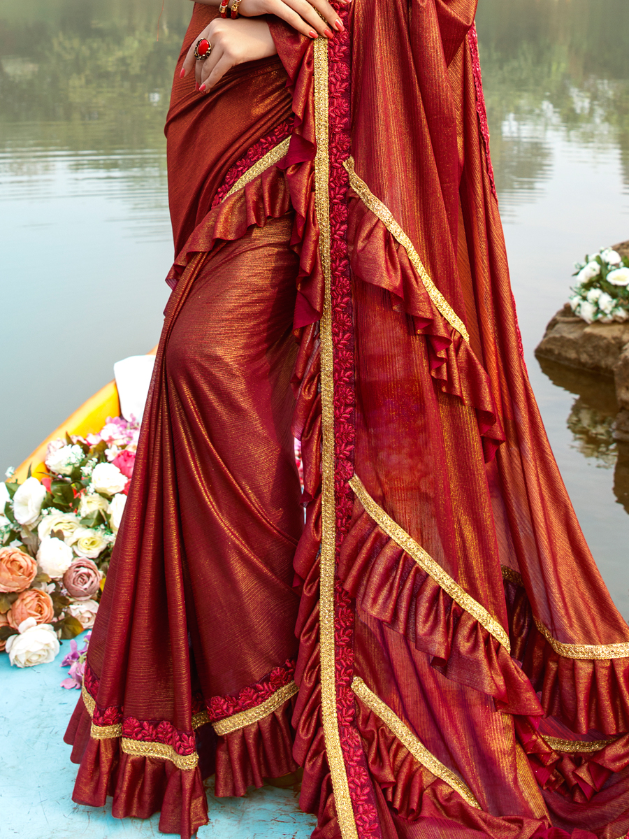 Venetian Red Imported Fabric Designer Party Saree