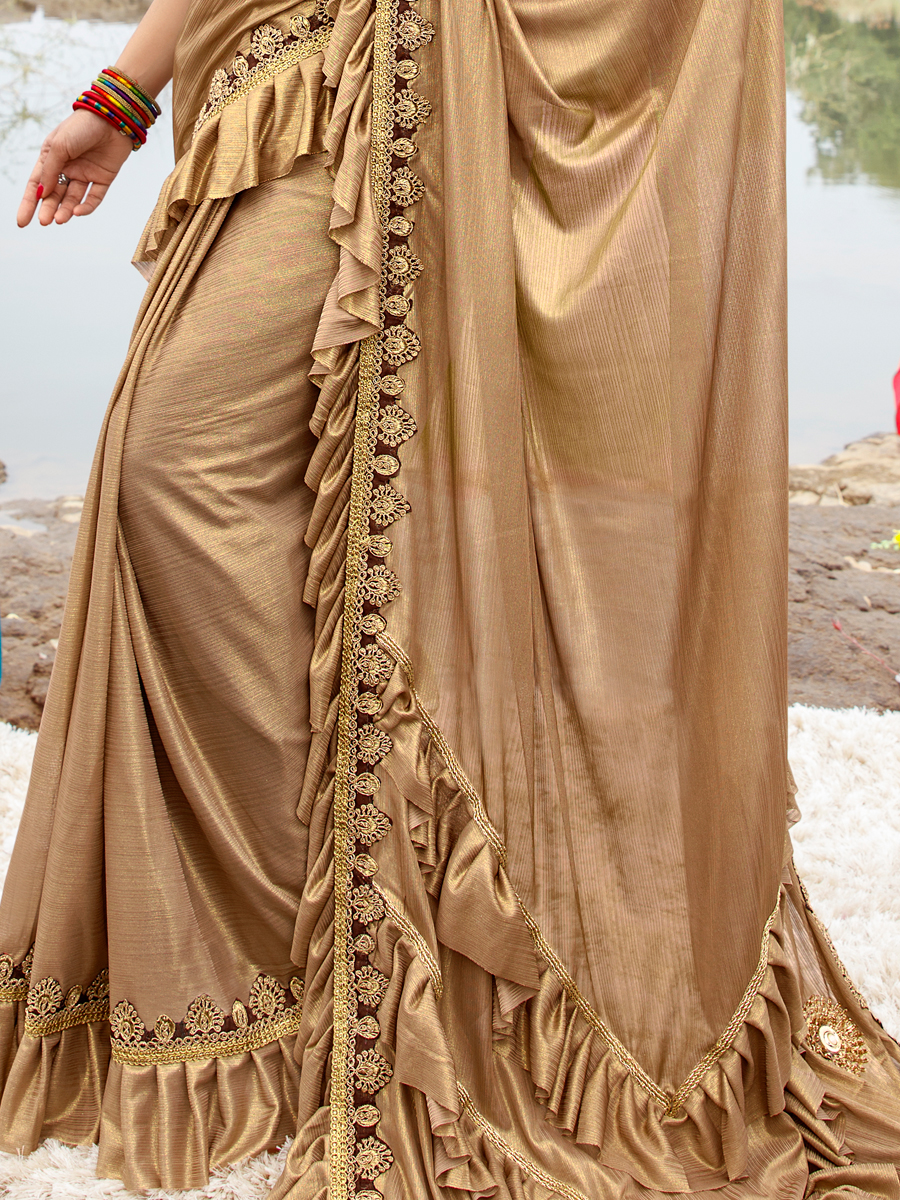Beige Yellow Imported Fabric Designer Party Saree