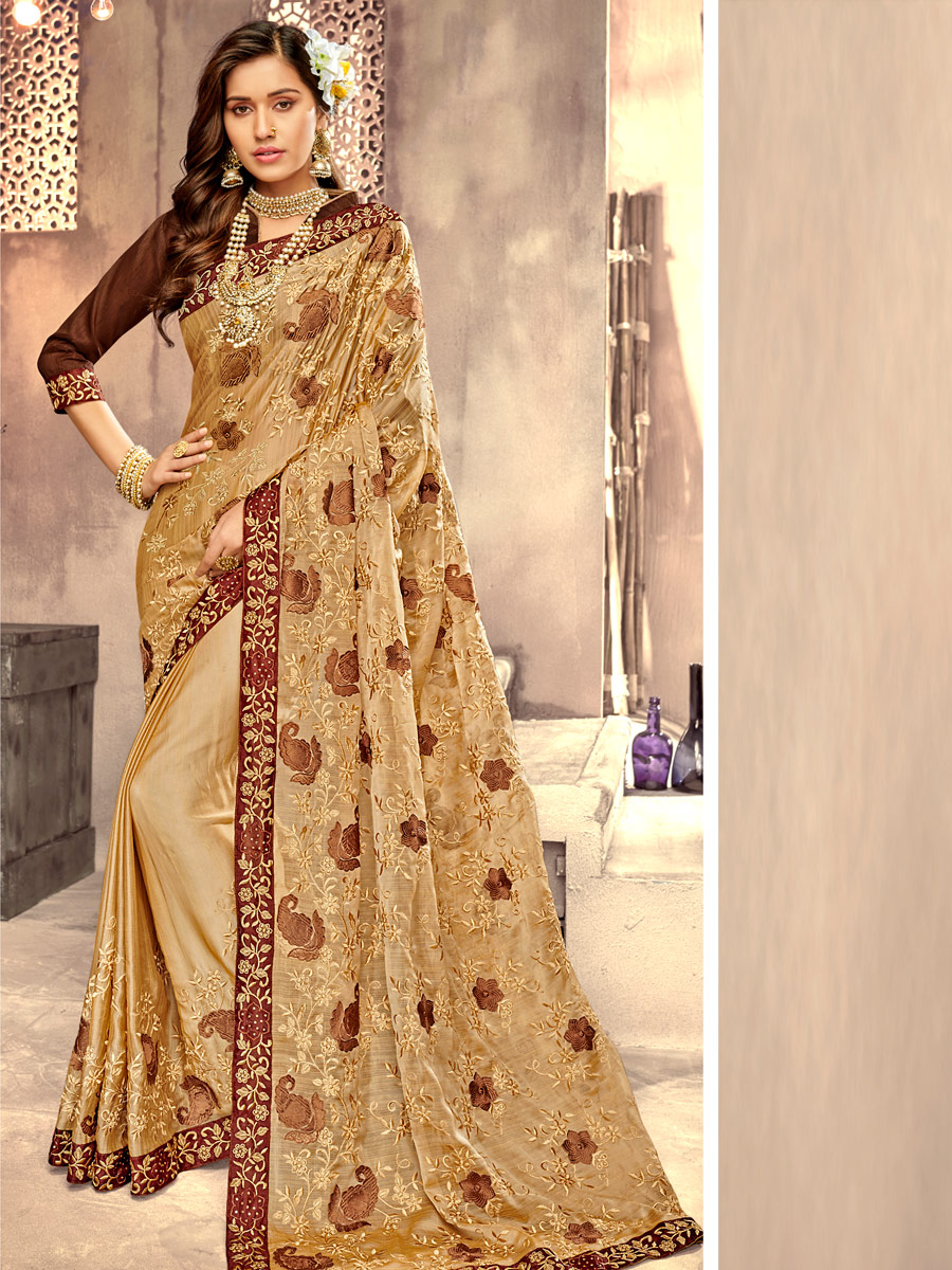 Beige Yellow Faux Georgette Embroidered Party Saree