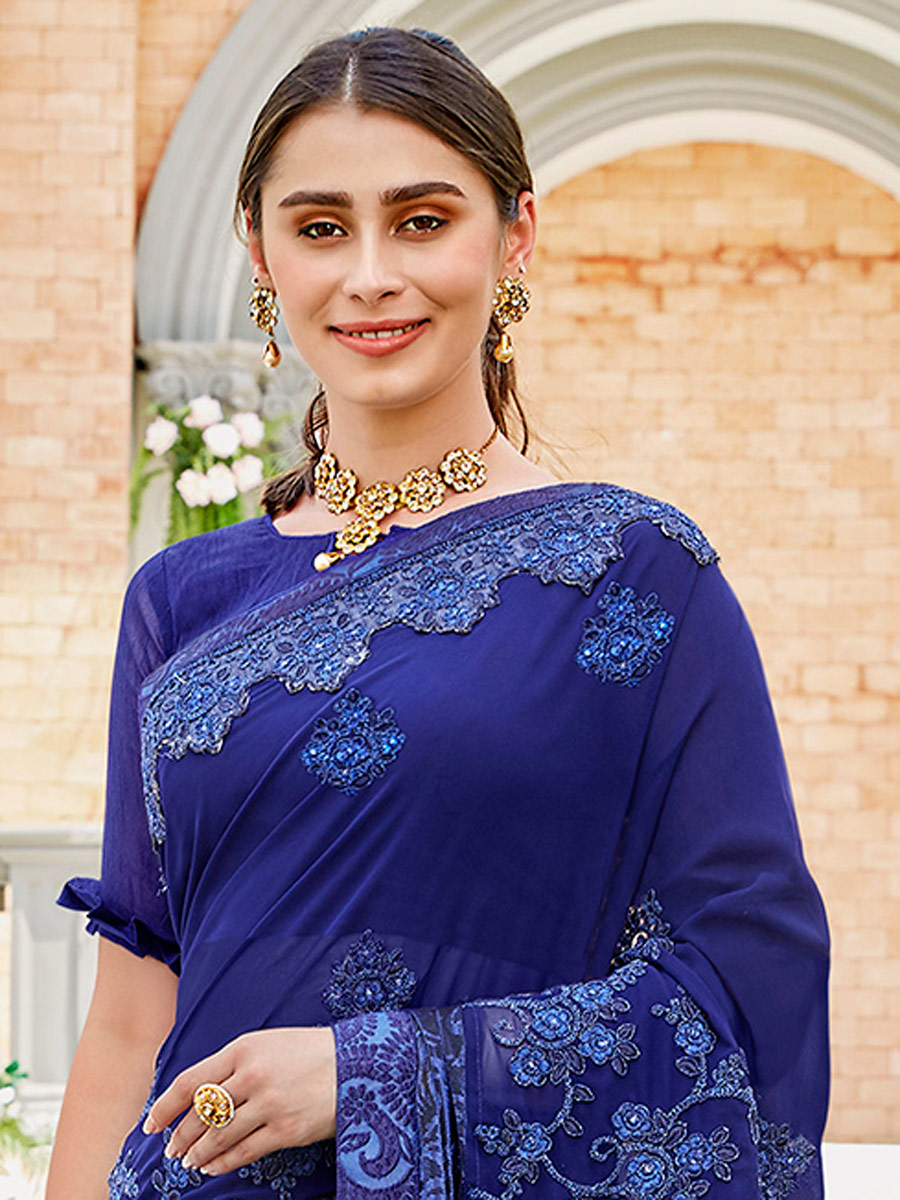 Navy Blue Faux Georgette and Silk Embroidered Festival Saree