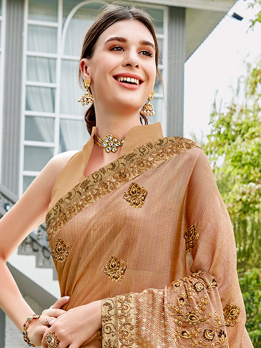 Beige Yellow Faux Georgette and Silk Embroidered Festival Saree