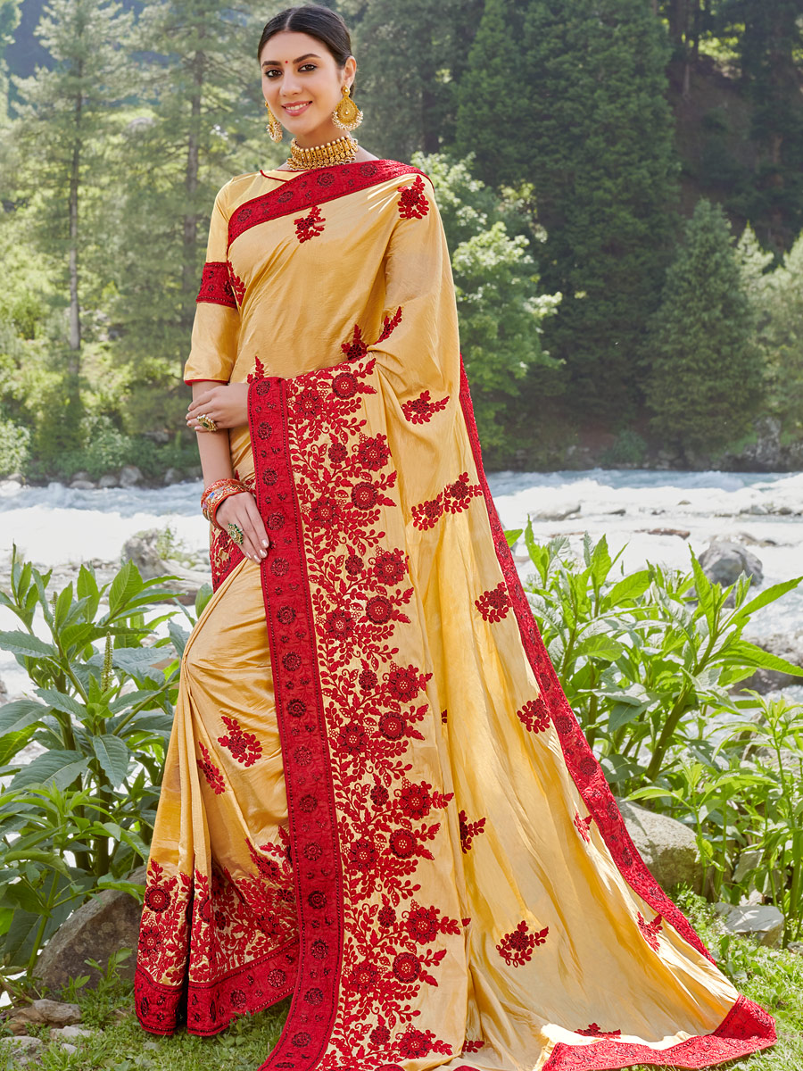 Buff Yellow Faux Georgette and Silk Embroidered Festival Saree