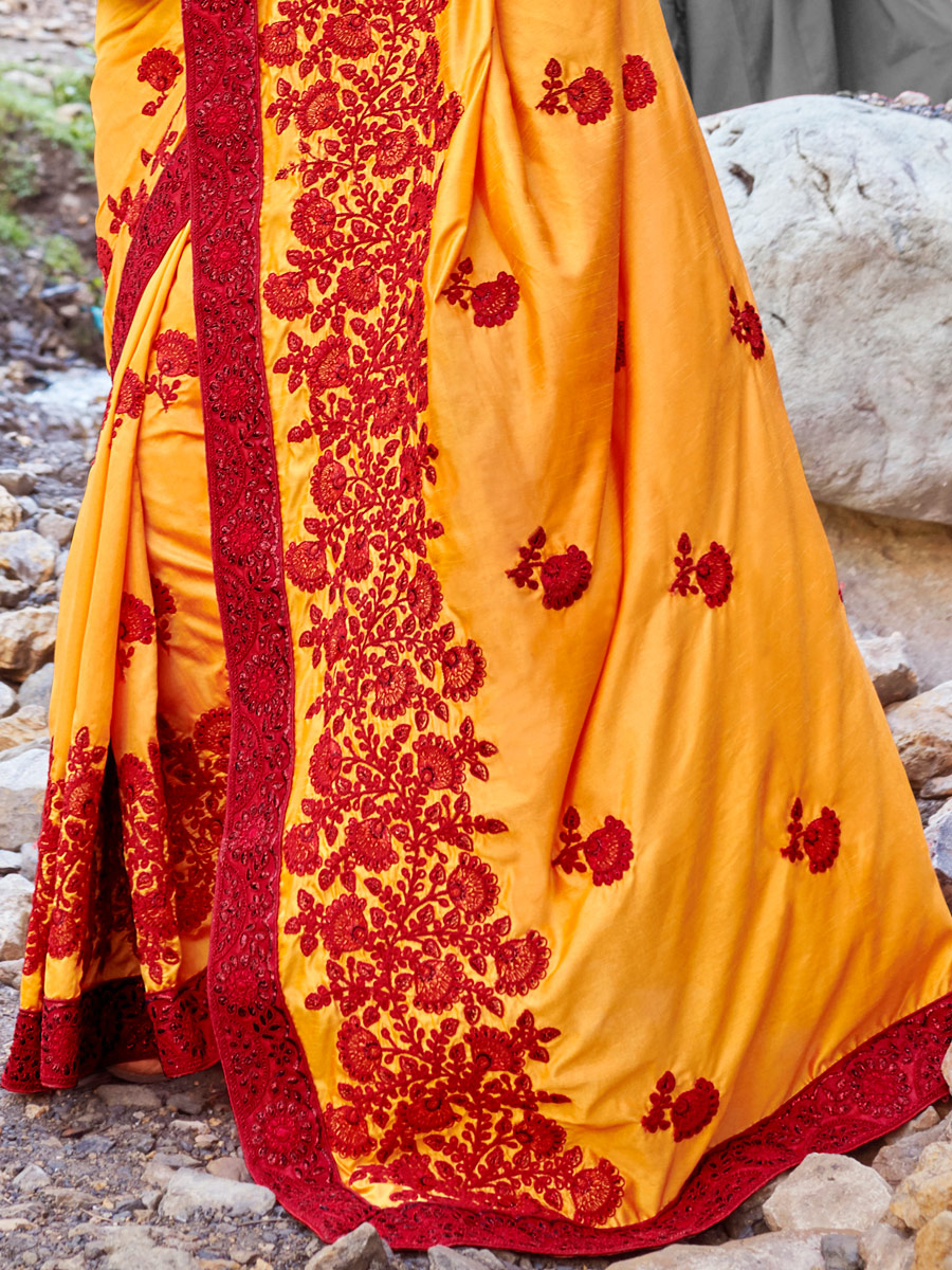 Mustard Yellow Faux Georgette and Silk Embroidered Festival Saree