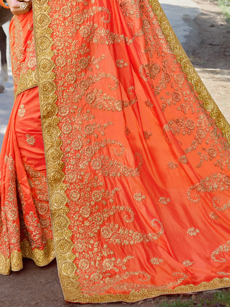 Coral Orange Faux Georgette and Silk Embroidered Festival Saree