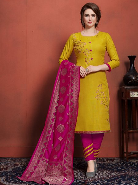 Jonquil Yellow Cotton Embroidered Festival Pant Kameez
