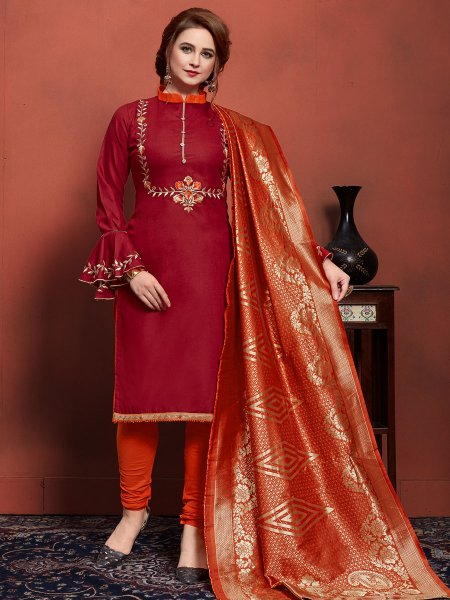 Venetian Red Cotton Embroidered Festival Churidar Pant Kameez