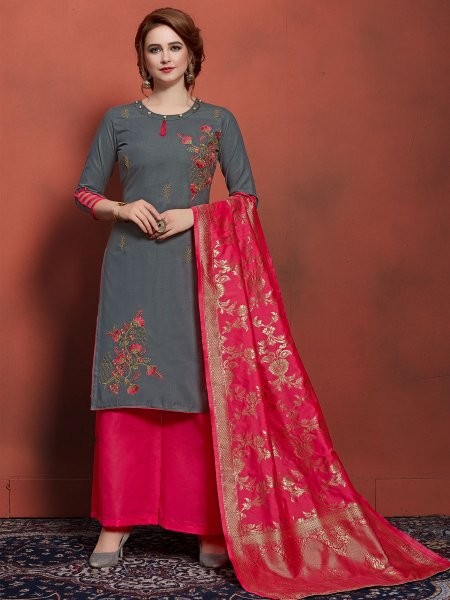 Arsenic Grey Cotton Embroidered Festival Palazzo Pant Kameez