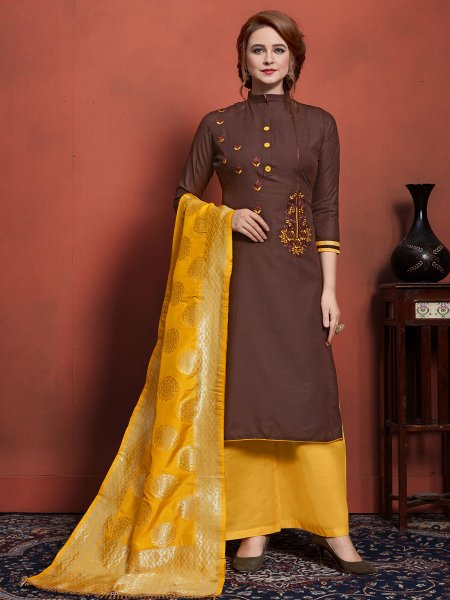 Auburn Brown Cotton Embroidered Festival Palazzo Pant Kameez