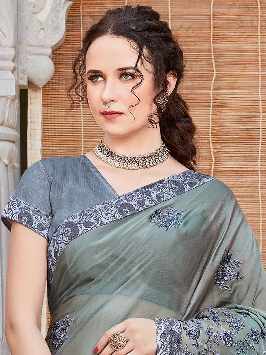 Gray Rangoli Silk Embroidered Festival Saree