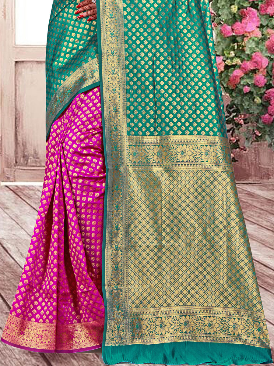 Sea Green and Magenta Pink Banarasi Silk Handwoven Festival Saree